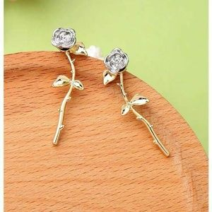Betsey Johnson Long Stem Rose Earrings